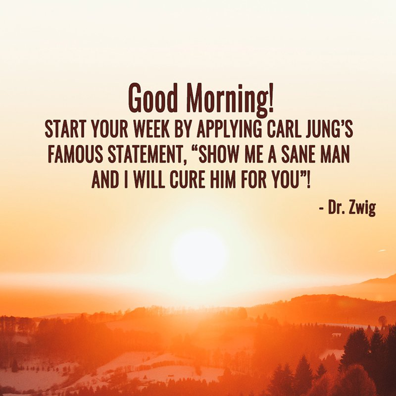 """Start your week by applying Carl Jung's famous statement, """"Show me a sane man and I will cure him for you""""!"""